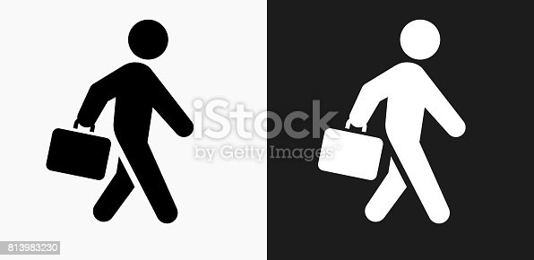 istock Briefcase Stick Figure Icon on Black and White Vector Backgrounds 813983230