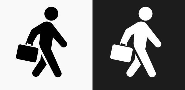 stockillustraties, clipart, cartoons en iconen met pictogram van de werkmap stok figuur op een zwart-wit vector achtergrond - attaché