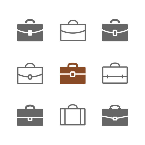 stockillustraties, clipart, cartoons en iconen met briefcase - portfolio tas