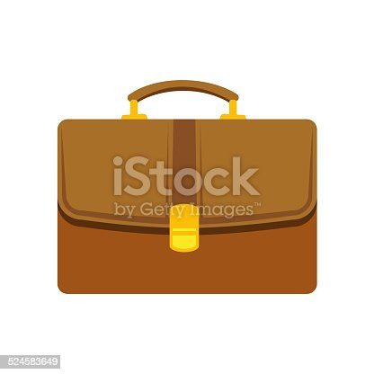 Briefcase flat icon isolated on white background. Vector illustration