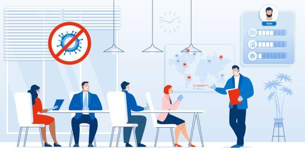 illustrazioni stock, clip art, cartoni animati e icone di tendenza di briefing, business meeting after covid19 outbreak - businessman covid mask