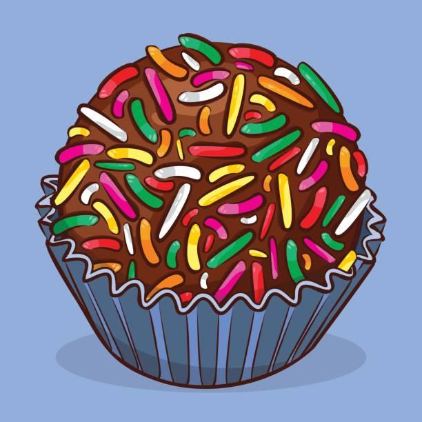Brigadeiro - Brazilian sweet - Birthday sweet Traditional Brazilian dessert leite stock illustrations