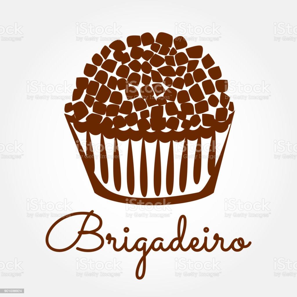 Vector icono de Brigadeiro. Ilustración de diseño de general de brigada brasileño caramelo dulce. - ilustración de arte vectorial