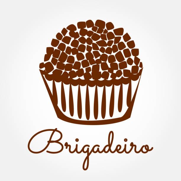 ilustrações, clipart, desenhos animados e ícones de vetor de ícone de brigadeiro. ilustração de projeto brasileiro doce doce brigadeiro. - brigadeiro
