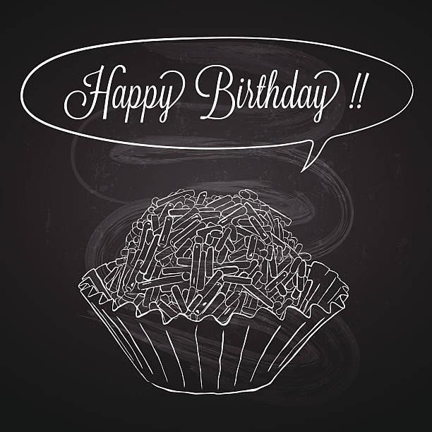 ilustrações, clipart, desenhos animados e ícones de brigadeiro-doce com giz de quadro-negro design de cartão de aniversário - brigadeiro