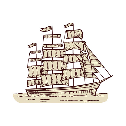 Brigantine sailing vessel or sails ship, engraving vector illustration isolated.