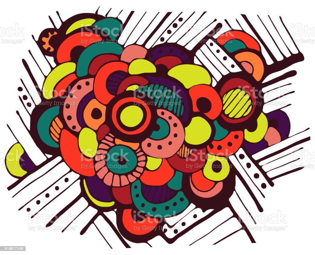 bright abstract background of circles. vector art illustration