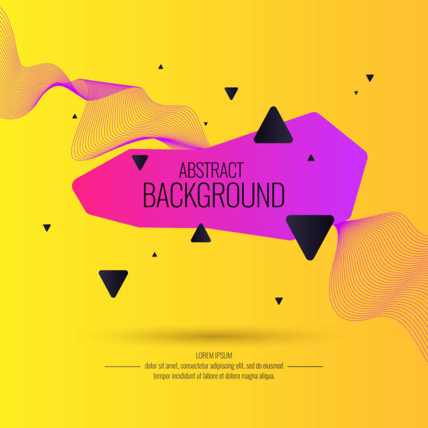 ilustrações de stock, clip art, desenhos animados e ícones de bright abstract background with a dynamic waves and triangle in a minimalist style - cool