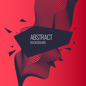 Bright abstract background with a dynamic waves and triangle in a minimalist style. Vector illustration