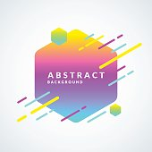 Bright abstract background with lines and hexagon in a minimalist style. Vector illustration with a gradient frame for text