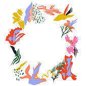 istock Bright abstract fashion floral wreath. 1223346063