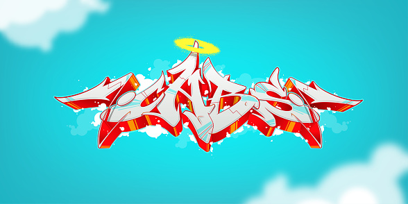 Bright abstract graffiti on a juicy background. Vector illustration