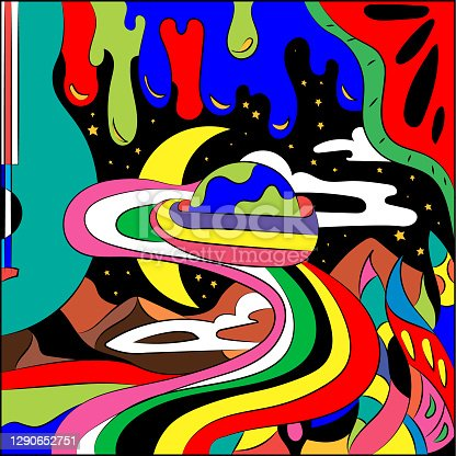 istock Bright abstract illustration on a free theme. Surreal Fantasy Vector Graphics. 1290652751