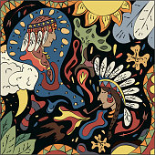 Bright abstract illustration on the theme Native Americans. Surreal Fantasy Vector Graphics.