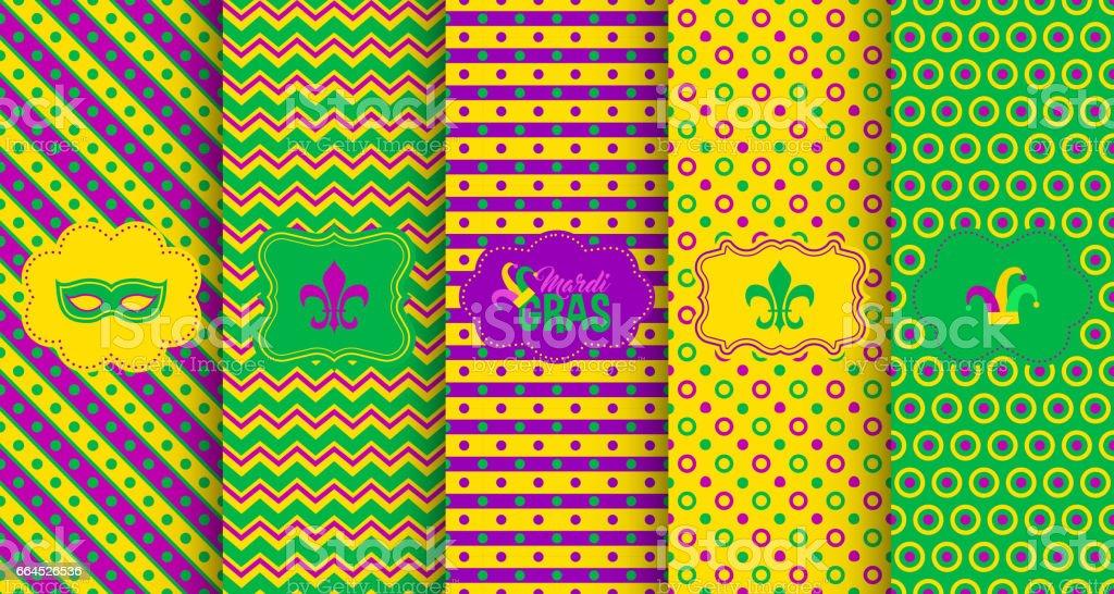 Bright abstract mardi gras pattern set vector art illustration