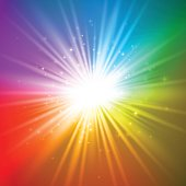 Abstract bright burst on a colorful rainbow background