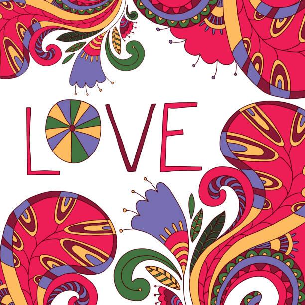 illustrazioni stock, clip art, cartoni animati e icone di tendenza di bright abstract vector composition - love word