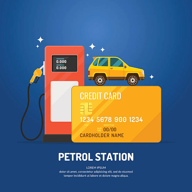 stockillustraties, clipart, cartoons en iconen met bright advertising poster on the theme of gas station. - station