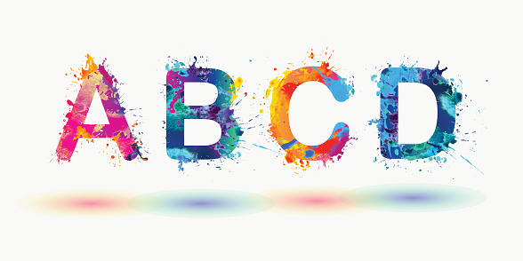 Bright alphabet. Letters A, B, C, D.
