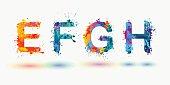 Bright alphabet. Letters E, F, G, H.