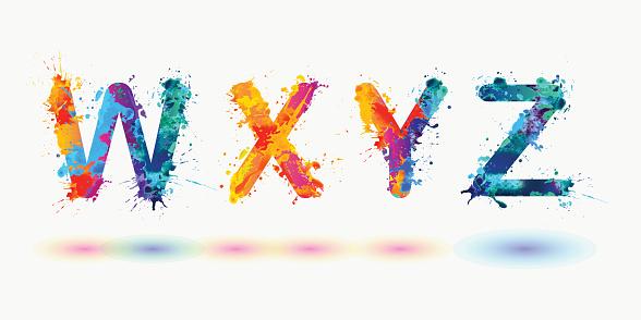 Bright alphabet. Letters W, X, Y, Z.