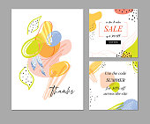 Trendy abstract templates with floral, linear and geometric elements. Suitable for thanks csrd, social media posts, mobile apps, banners design and internet ads. Vector fashion backgrounds. Square