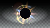 Bright and colored light rays and lens flare backdrop. Solar eclipse, astronomical phenomenon - full sun eclipse. Star burst with sparkles. Horizontal, Isolated on transparent.