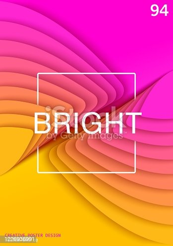 istock Bright and colorful abstract background in paper cut style. Freeform layered element with the size gradation. 1226936991