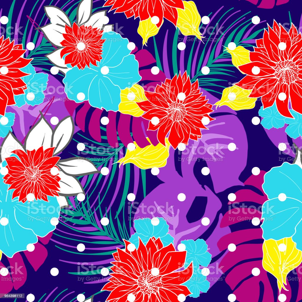 Bright And Colorful Hand Drawn Hawaiian Tropical Exotic Leaves