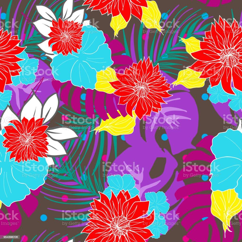 Bright and colorful hand drawn hawaiian tropical exotic leaves bright and colorful hand drawn hawaiian tropical exotic leaves fruits and flowers retro design seamless izmirmasajfo