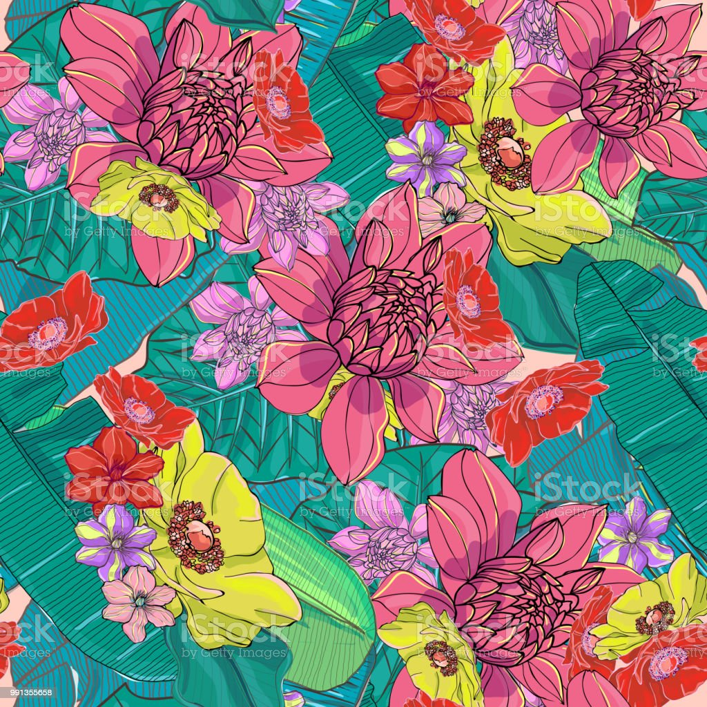 Bright And Colorful Hand Drawn Hawaiian Tropical Leaves And Flowers