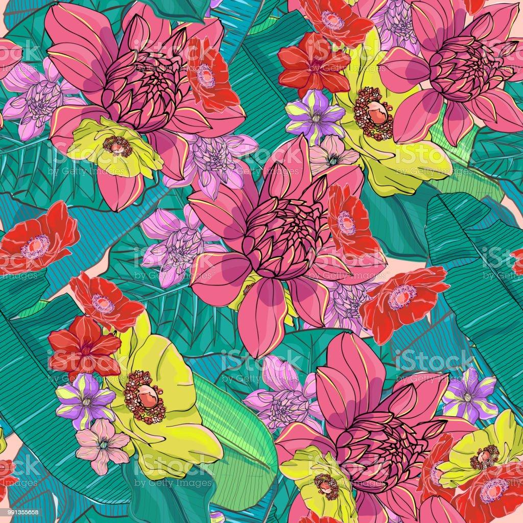 Bright and colorful hand drawn hawaiian tropical leaves and flowers bright and colorful hand drawn hawaiian tropical leaves and flowers retro design seamless pattern vector royalty izmirmasajfo