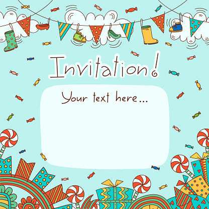 Bright and festive template with garlands, clouds, sweets and gifts