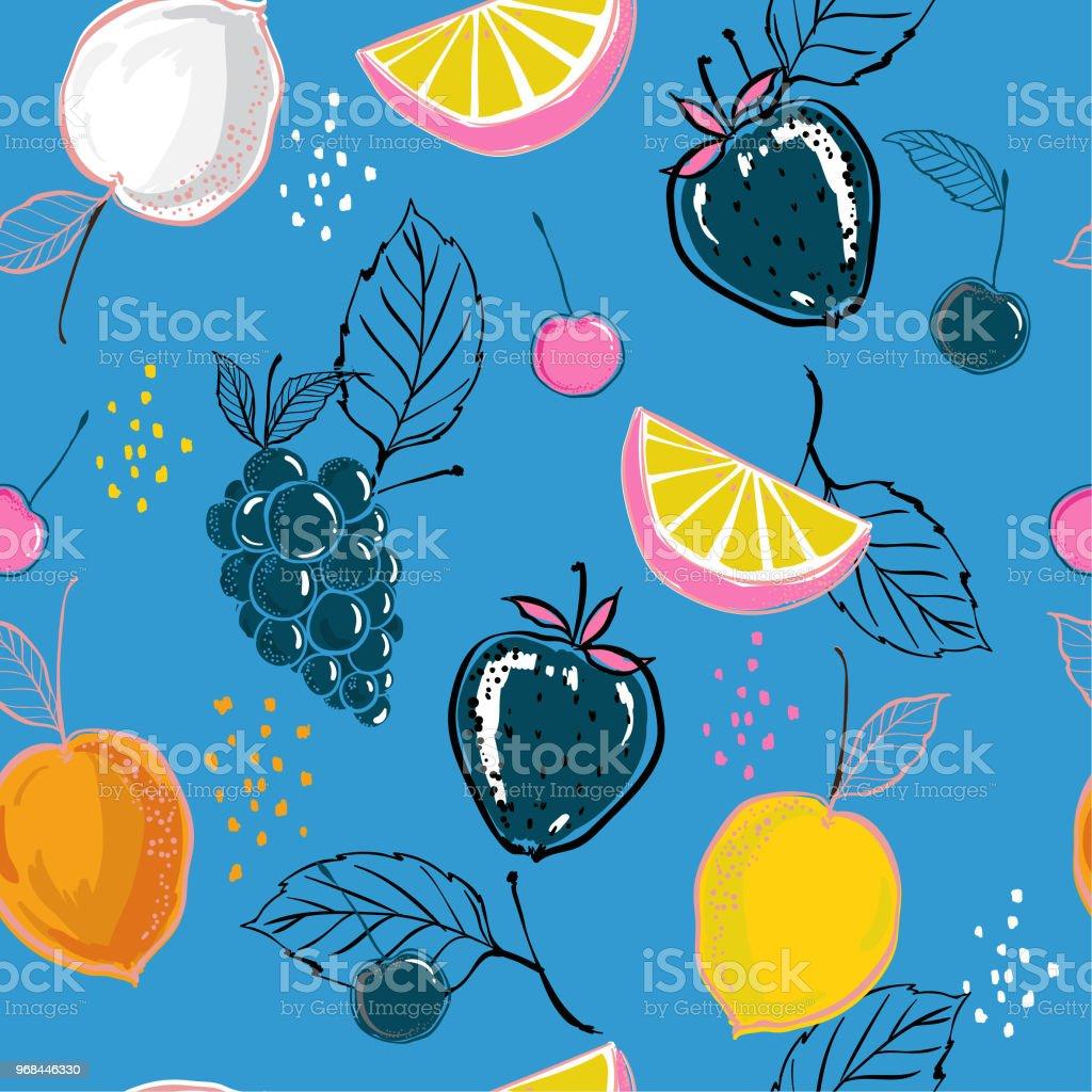 Hell Und Frisch Gemischten Sommer Früchte Bunten Hand Skizzieren