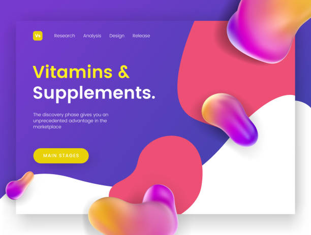 Bright and juicy landing page template for sites with health topics, vitamins, supplements and minerals. vector art illustration