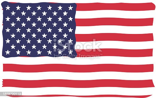 istock Bright and vibrant waving or twirling Unites States flag vector illustration for kids 1323700113