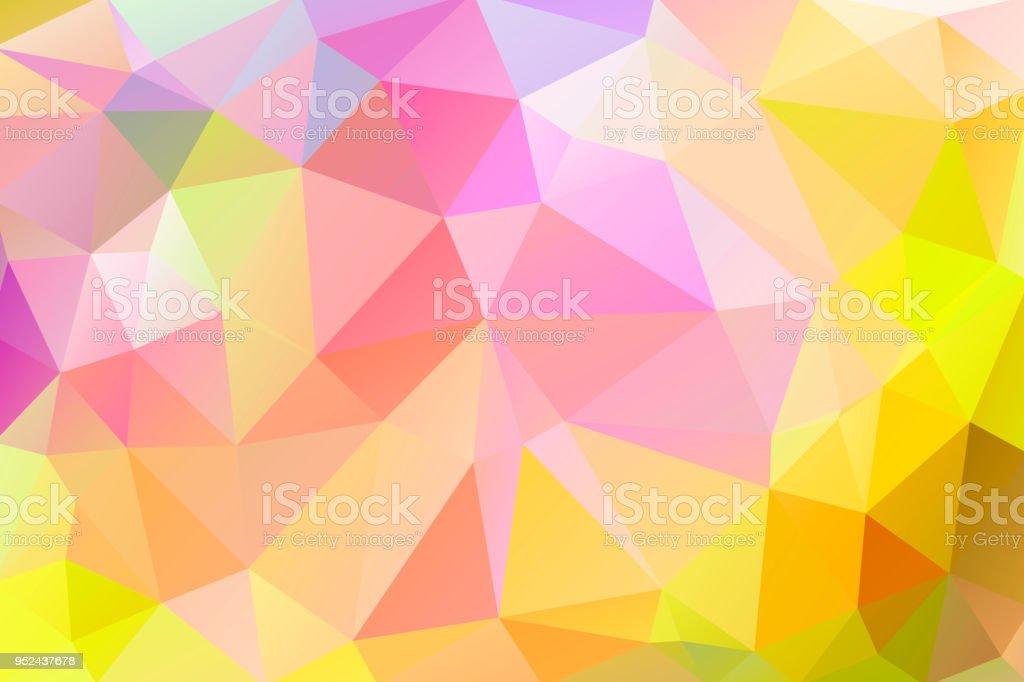 黄色、緑、赤の色の三角形の三角形の明るく温かみのある抽象的な背景 ベクターアートイラスト