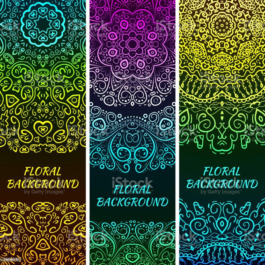 Bright asian decorative headers. Vector illustration vector art illustration