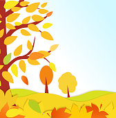 Bright autumn background. Autumn forest with falling leaves. place under text for flyers, leaflet, web.