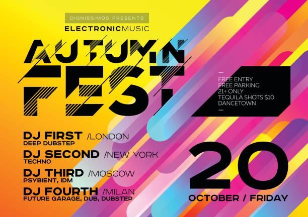 hellen herbst elektronische musik poster für festivals oder dj-party. - edm stock-grafiken, -clipart, -cartoons und -symbole