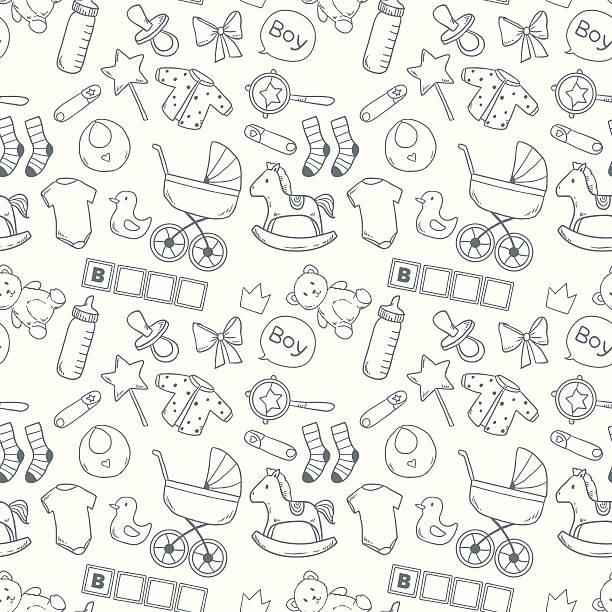 Bright baby seamless pattern vector art illustration
