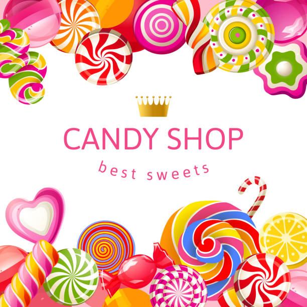 bright background with candies - sweet food stock illustrations, clip art, cartoons, & icons