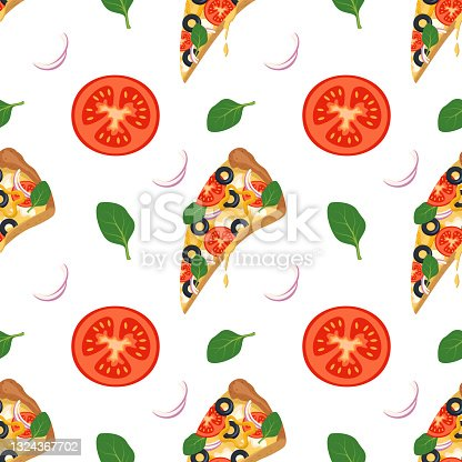 istock Bright background with slices of pizza, arugula, tomatoes and onions 1324367702