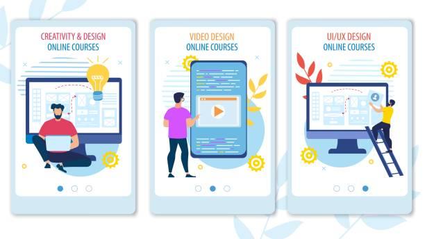 stockillustraties, clipart, cartoons en iconen met heldere banner creatieve en ontwerp online cursussen. - youtube