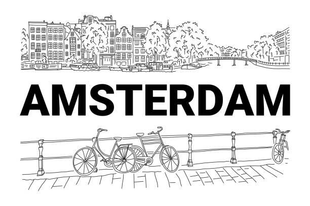Helle Banner Flyer Skizze Inschrift Amsterdam. – Vektorgrafik