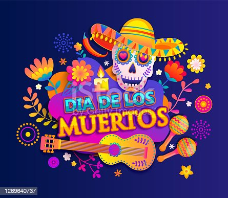 istock Bright banner for Day of the dead. 1269640737