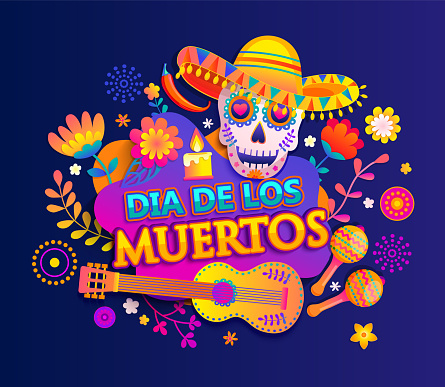 Bright banner for Day of the dead.