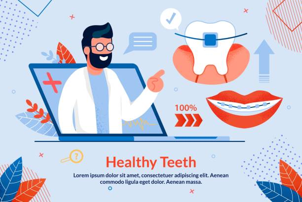 Bright Banner Healthy Teeth Lettering Cartoon. Bright Banner Healthy Teeth Lettering Cartoon. Poster Medical Procedures for Making Diagnosis. On Laptop Screen, Male Dentist Talks about Dental Braces, Trendy Flat. Vector Illustration. dentist stock illustrations
