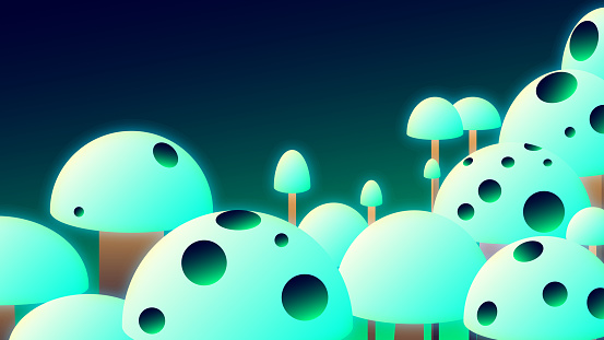 Bright banner illustration - Glowing mushrooms.