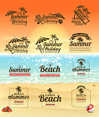 drawing of vector shiny beach sign. Created by illustrator cs6. This file of transparent.